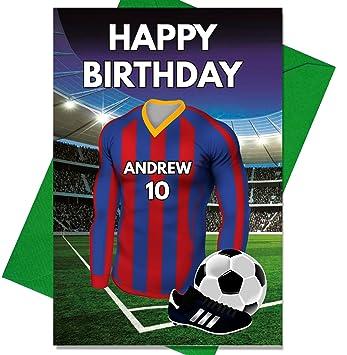 Personalizado Barcelona Fútbol Tarjeta de cumpleaños - cualquier nombre y numerados camiseta: Amazon.es: Hogar