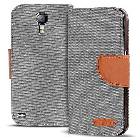 Verco Galaxy S4 Hülle, Schutzhülle für Samsung Galaxy S4 Tasche Denim Textil Book Case Flip Case - Klapphülle Grau