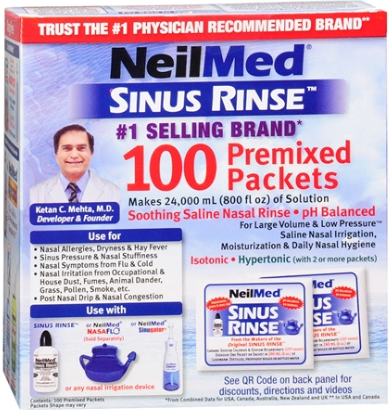 NeilMed Sinus Rinse Premixed Refill Packets 100 Each (Pack of 11) by NeilMed