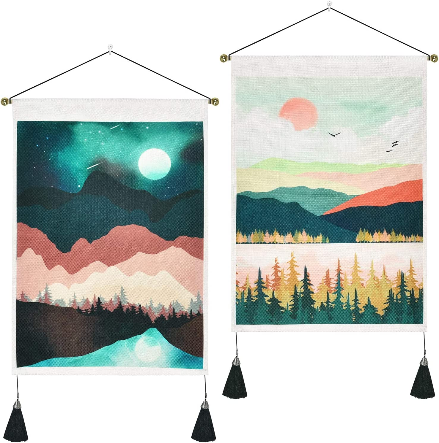 Pack of 2 Mountain Tapestry Sunset Tapestry Forest Tree Tapestry Nature Landscape Tapestry Wall Hanging for Room