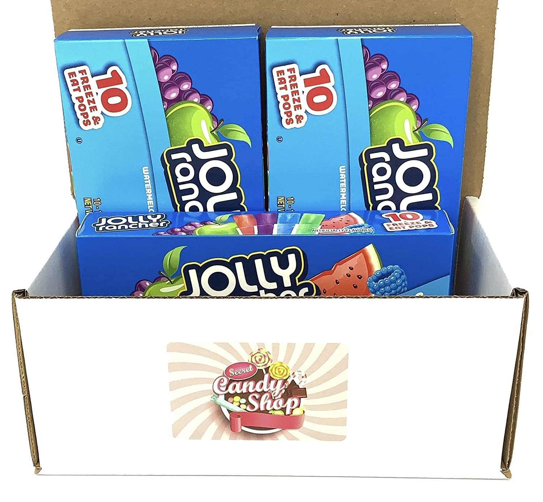 Jolly Rancher Freezer Pops (Watermelon, Green Apple, Grape, Blue Raspberry) (Pack of 3, 30 pops in total)