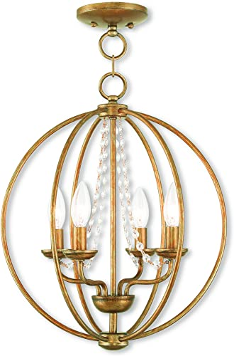 Livex Lighting 40914-48 Arabella 4 Light AGL Mini Chandelier Flush Mount, Antique Gold Leaf