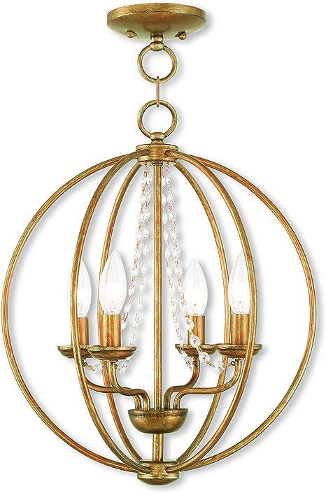 Livex Lighting 40914 48 Arabella 4 Light Agl Mini Chandelier Flush Mount Antique Gold Leaf Amazon Com