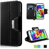 Galaxy S5 Mini Case - Vakoo [Book Style] Premium-PU Leather Wallet Folio Mobile Phone Protector Cover Flip Case for Samsung Galaxy S5 Mini (Black)
