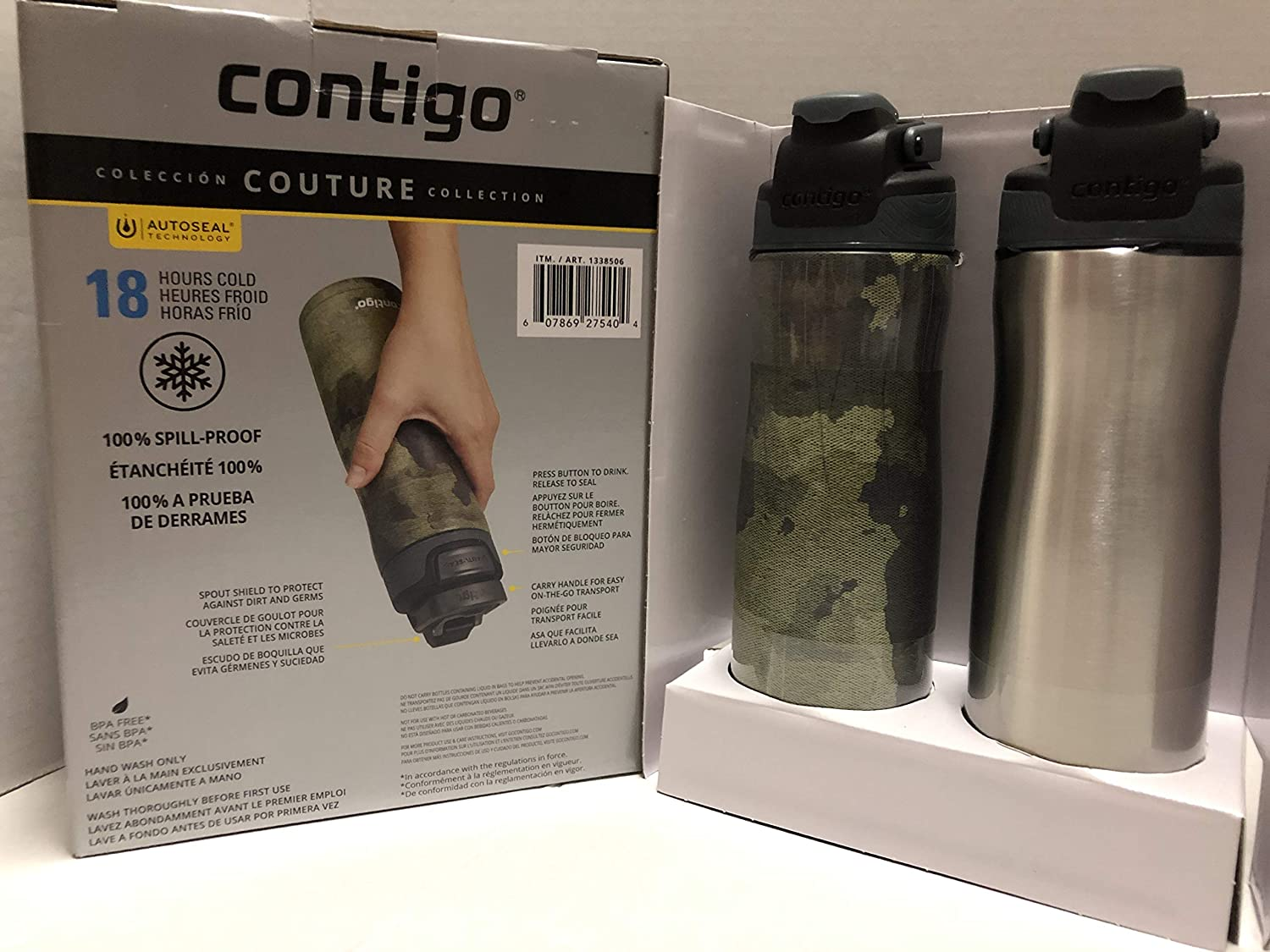 Contigo Primex Autoseal Couture 20oz Vacuum Insulated Stainless Steel Water Bottle, 2-Pack