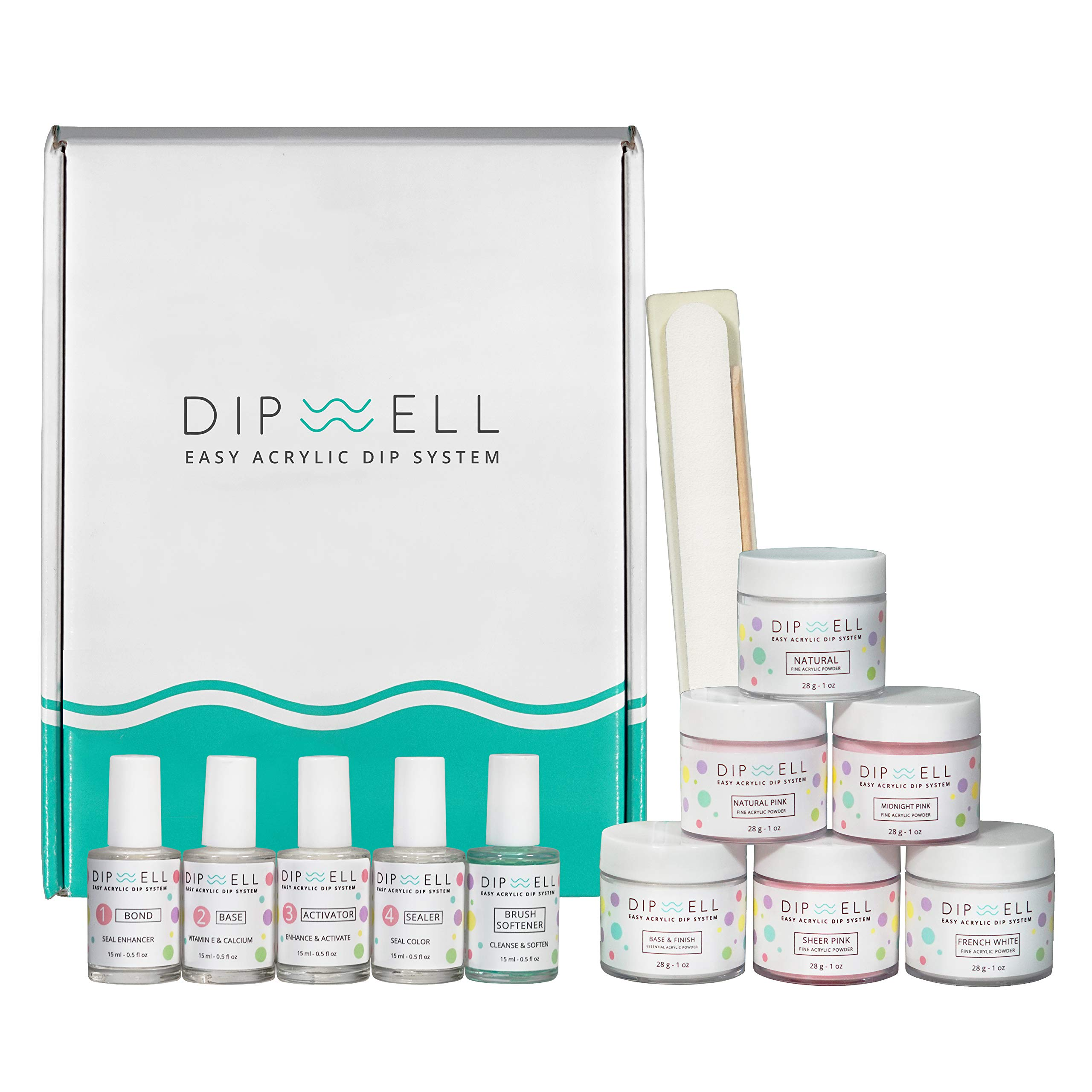 Dip Powder Nail Kit, Easy Acrylic Dipping and Gel Resin For Dip, Full System For French or Natural Set by DipWell Nails (Bond, Base, Activator, Sealer, Brush Softener + 6 Powder)