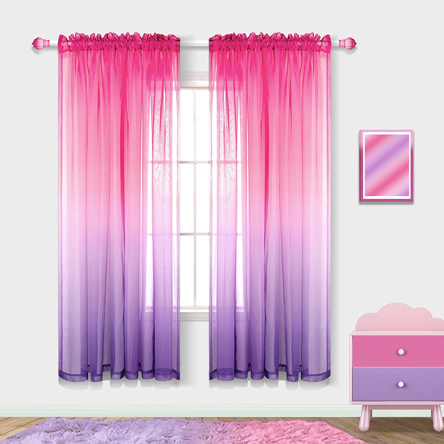 Girls Room Decorations for Bedroom 2 Panels Rod Pocket Ombre Curtains Pink and Purple Room Decor for Teen Girls Hot Pink to Lavender Purple 63 Inch Length