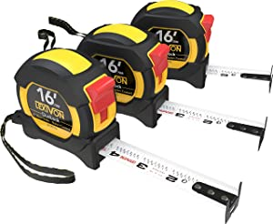 LEXIVON [3-Pack] 16Ft/5m DuaLock Tape Measure | 1-Inch Wide Blade with Nylon Coating, Matte Finish White & Yellow Dual Sided Rule Print | Ft/Inch/Fractions/Metric (LX-207X3)