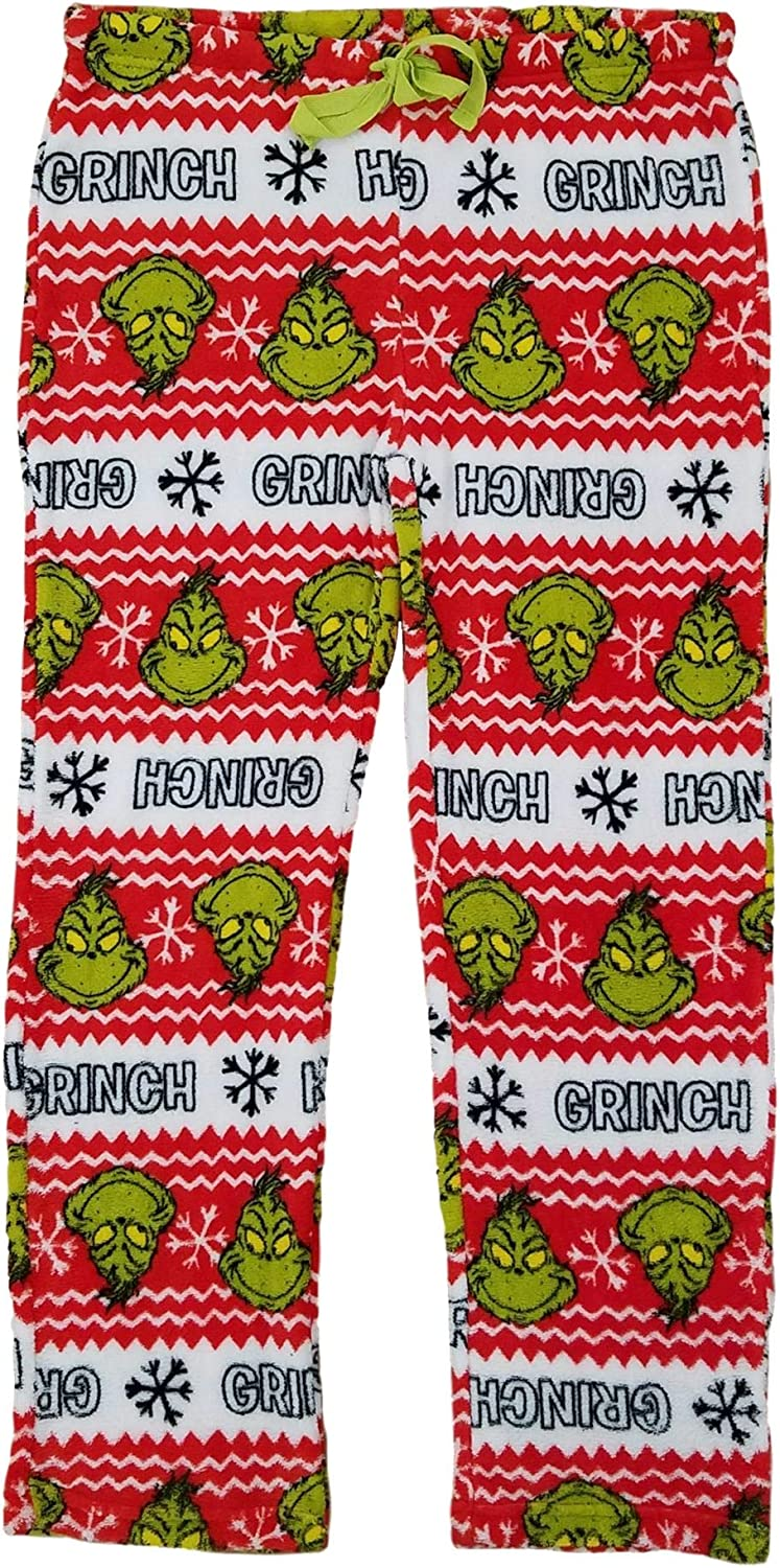 Dr Seuss Womens The Grinning Grinch Plush Lounge Pants