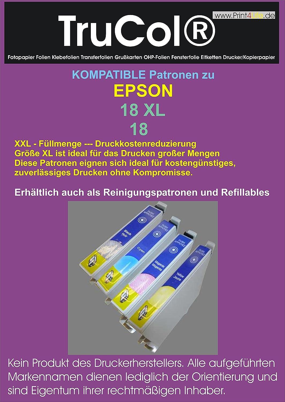 20 XL Druckerpatronen kompatibel für Epson T1811 - T1814 18XL C13T18 für Expression Home XP-100 Series XP-102 XP-200 Series XP-202 XP-205 XP-210 Series XP-212 XP-215 XP-225 XP-30 XP-300 Series XP-302 XP-305 XP-310 Series XP-312 XP-313 XP-315 XP-320 Series