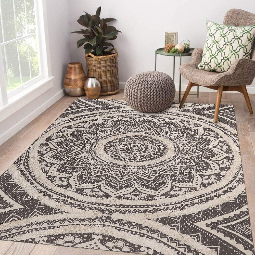 Seavish Tufted Cotton Area Rug,4 X 6 Gray Mandala Hand Woven Floor Rug Handmade Shag Accent Rug Carpet for Farmhouse Living Room Bedroom Laundry Dorm