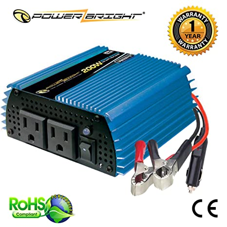 12 Volt Converter >> Power Bright Pw200 12 Power Inverter 200 Watt 12 Volt Dc To 110 Volt Ac