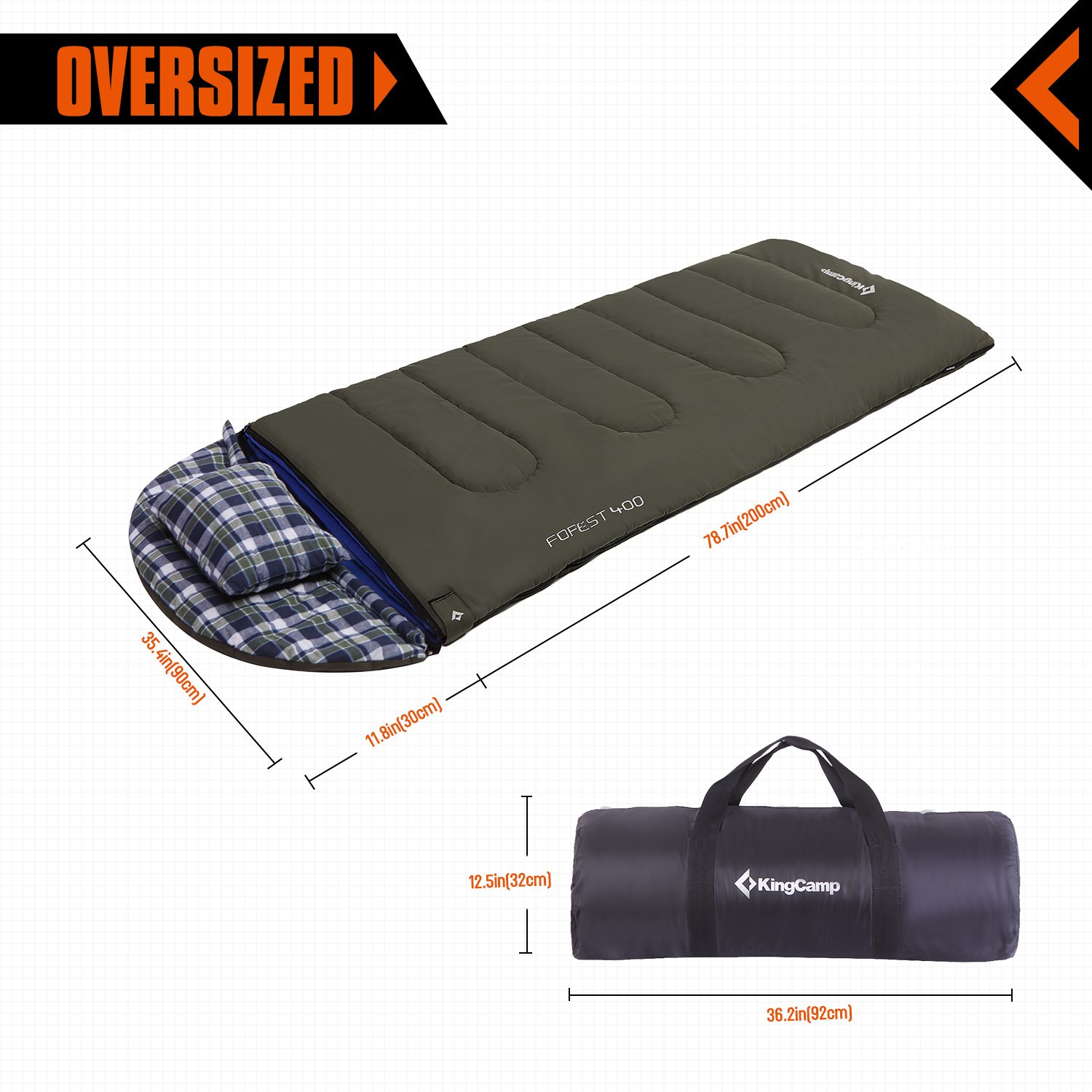 KingCamp Forest All Season Oversize Cotton Cover Camping Sleeping Bag with Removable Liner and Pillow (Right Zip, Comfort Zone 18 ~ 32 °F)
