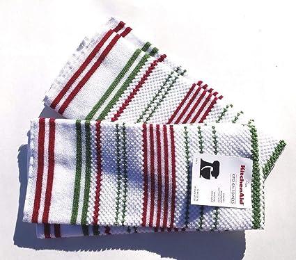 Amazon Com Kitchenaid Terry Cloth Kitchen Towel Set With Vertical