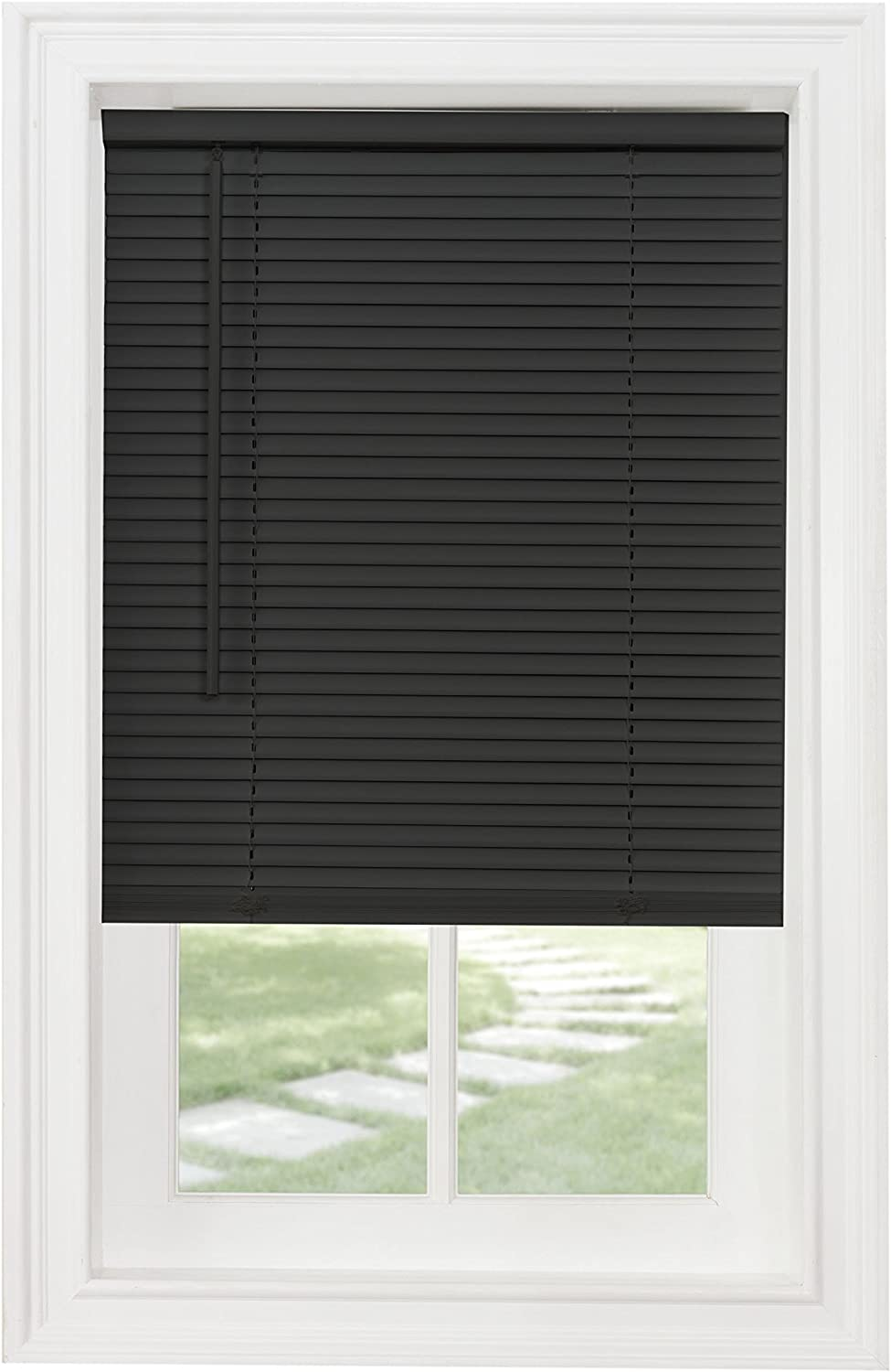 "Achim Home Furnishings Cordless GII Morningstar 1"" Light Filtering Mini Blind, Length 64inch Drop X Widht 35inch, Black"
