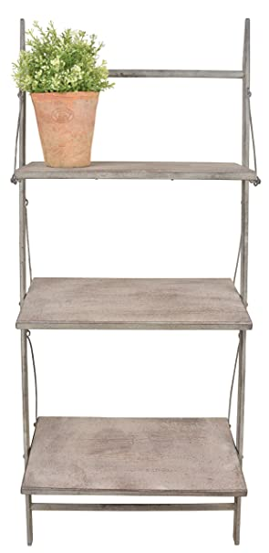 Vintage Style Aged Metal Ladder Shelves. 106cm Tall Aged Metal Small Plant  Ladder