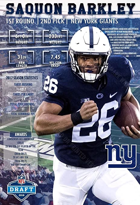 Image Unavailable. Image not available for. Color  PosterWarehouse2017 GIANTS  SELECT SAQUON BARKLEY IN THE FIRST ROUND OF THE 2018 NFL DRAFT POSTER 45bef2309