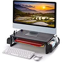 Simple Trending Metal Monitor Riser Stand and Computer Desk Organizer with Drawer, Black