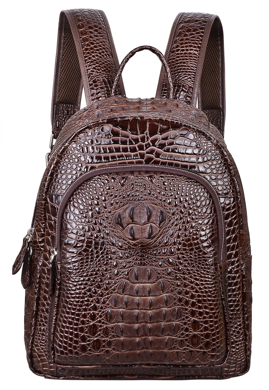 PIJUSHI Women Leather Backpack Crocodile School Backpack Casual Rucksack