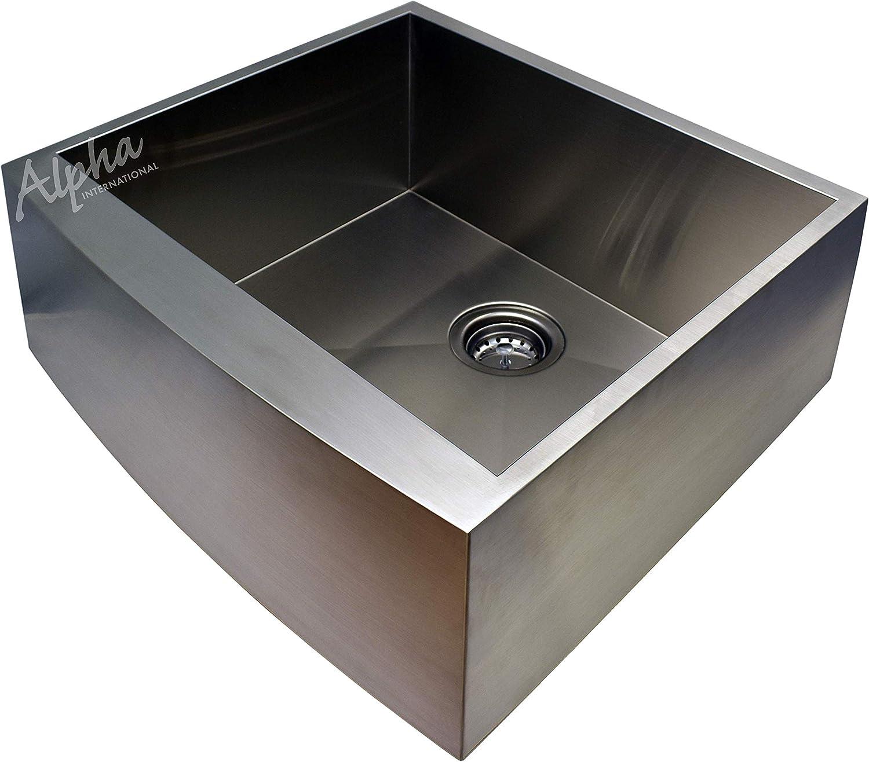 Alpha 24 Stainless Steel Apron Farmhouse Single Bowl 16 Gauge Undermount Kitchen Sink Amazon Com