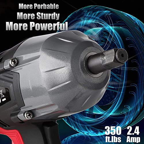 GETUPOWER 120 Volt Electric Impact Wrench 1 2 inch, 350 Ft.lbs Max Torque, Portable Impact Wrench Gun Corded with Sockets and Carry Case