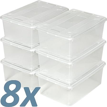 TecTake Cajas de almacenaje de Zapatos Calzado Cajas plástico Transparente apilable 33x23x12cm - Varias cantidades - (8x6 | no. 402008): Amazon.es: Hogar