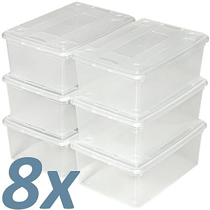 TecTake Cajas de almacenaje de zapatos calzado cajas plástico transparente apilable 33x23x12cm - varias cantidades -