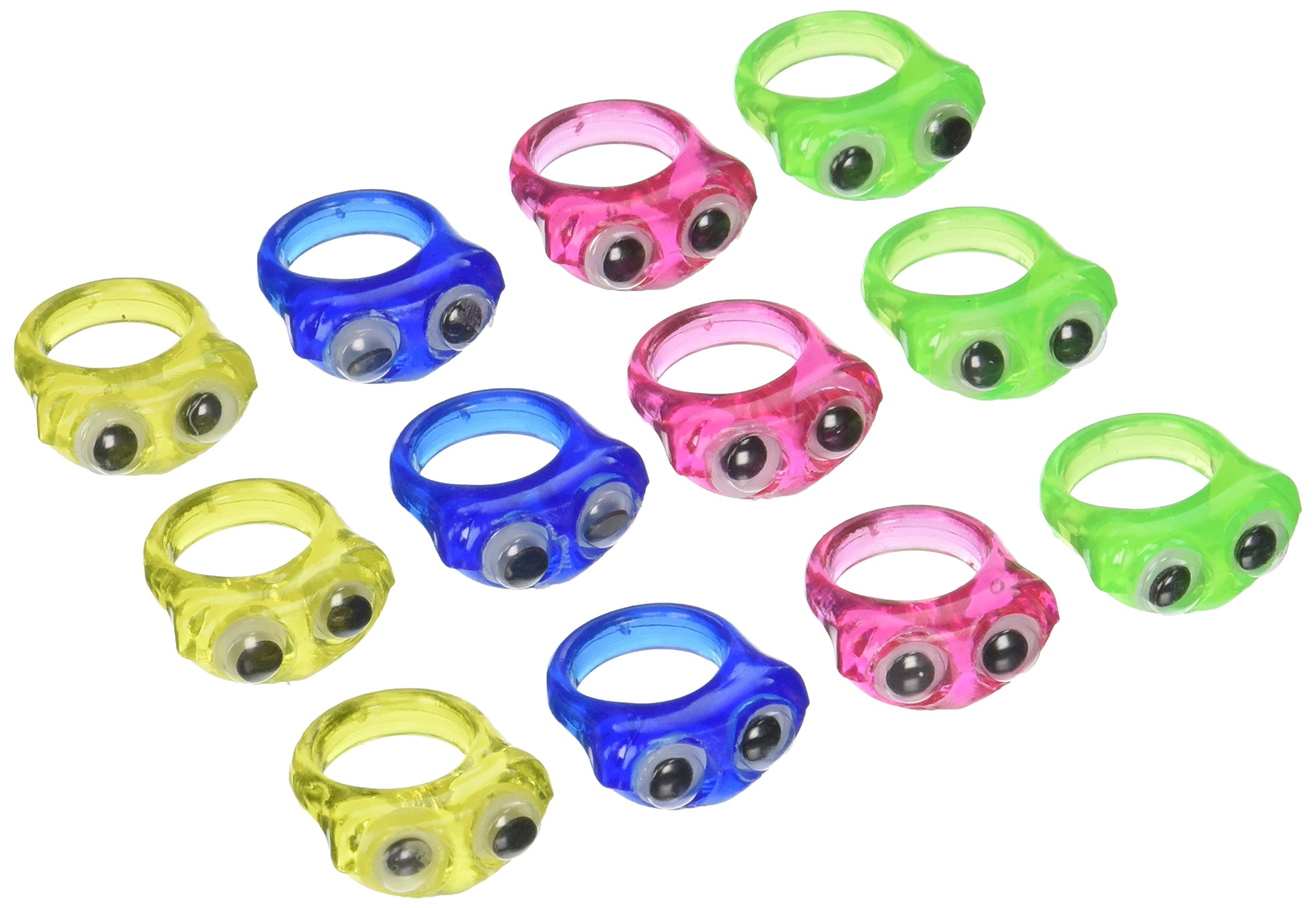 Wiggle Eye Rings - Novelty Jewelry & Googly Eye Rings / Bulk 36 Count