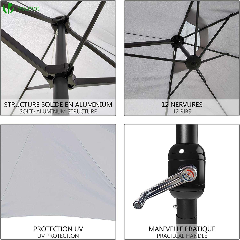 Toile 180 GR//m2 Protection Solaire Hauteur 2m50 R/ésistant /à leau Housse de Protection Inclus Gris Claire VOUNOT Parasol de Jardin Double Aluminium 270 x 460cm avec Manivelle