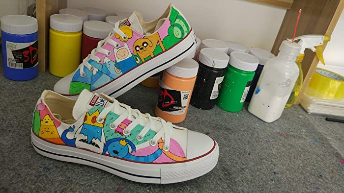 99ed1717a9cb17 Amazon.com  Custom Shoes Adventure Time Anime Shoes Black Canvas Sneakers  Shoes Men Women Shoes Hand Painted Shoes Free Shipping  Handmade