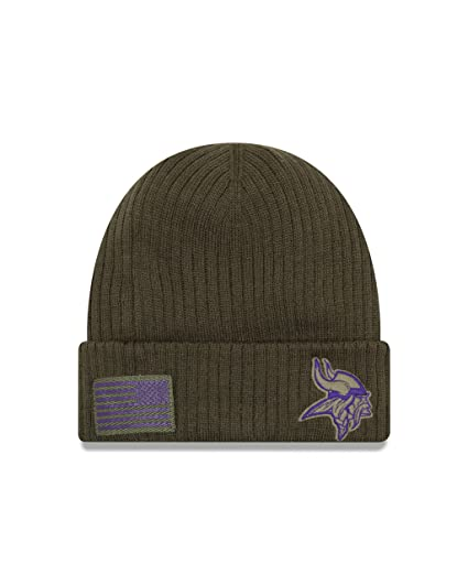 569c9eb03 New Era Minnesota Vikings Beanie On Field 2018 Salute to Service Knit Green  - One-Size  Amazon.co.uk  Clothing