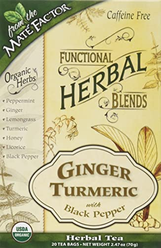 Mate Factor Functional Herbal Blends – Ginger Turmeric with Black Pepper 20 Bag S
