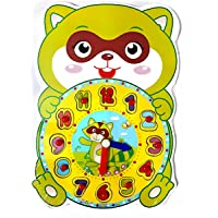 SuperToy(TM) Premium 1 Set Wooden Educational Color Digital Cognitive Learning DIY Clock Model Jigsaw Puzzles Toys Gifts Kids Toys for Children (Squirrel)