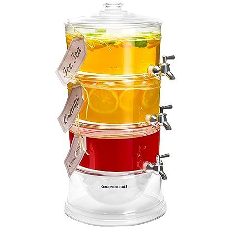 Dispensador de bebidas de 3 niveles, con compartimiento para hielo, Andrew James, con