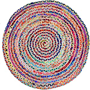 Fernish Décor Round Rag Area Rug, Jute & Cotton Multi Chindi Braid Rug, Hand Woven & Reversible- Handwoven from Multi-Color Vibrant Fabric Rags Bohemian Colorful Rug (4 feet)