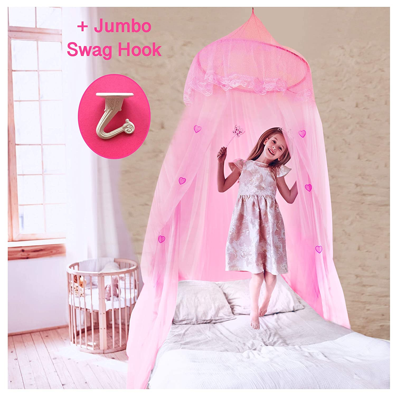 EVEN NATURALS Princess Bed Canopy for Girls, with Lace Dome & Hearts (Easy Hanging System), Mosquito Netting for Crib up to Twin Size Girls Bed