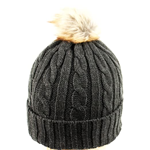 517fc1f11991b ANGELA   WILLIAM bn2144 Women s Thick Cable Knit Beanie Hat with Soft Faux Fur  Pom Pom