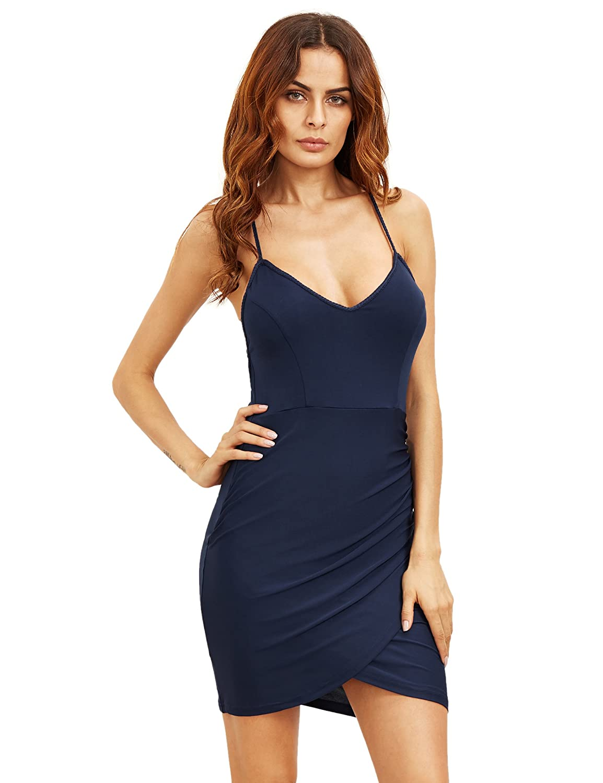 MakeMeChic Women's Sexy Backless Spaghetti Strap Wrap Bodycon Club Dress