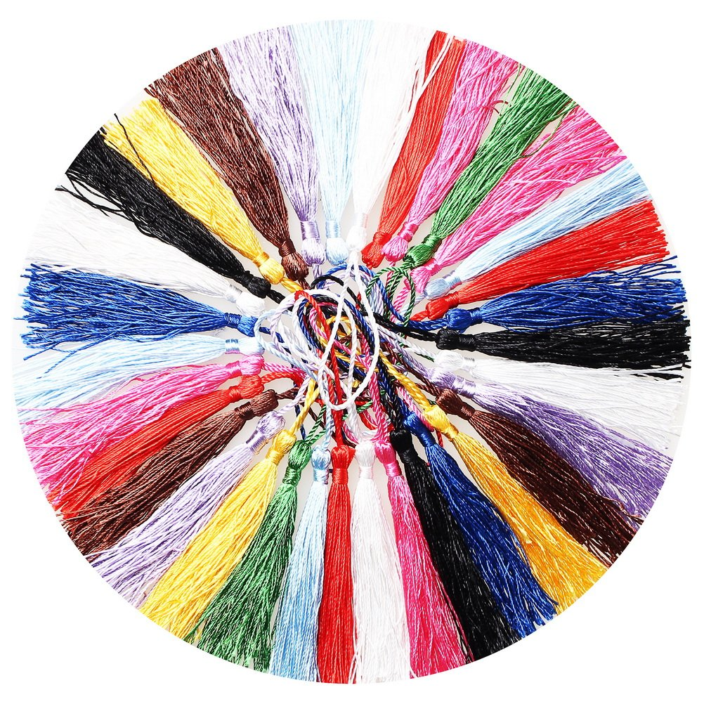 SUMAJU 100pcs Craft Tassels with Loops for Jewelry Making,Bookmarks,Souvenir, DIY Craft Accessory 5 Inch 4337038929
