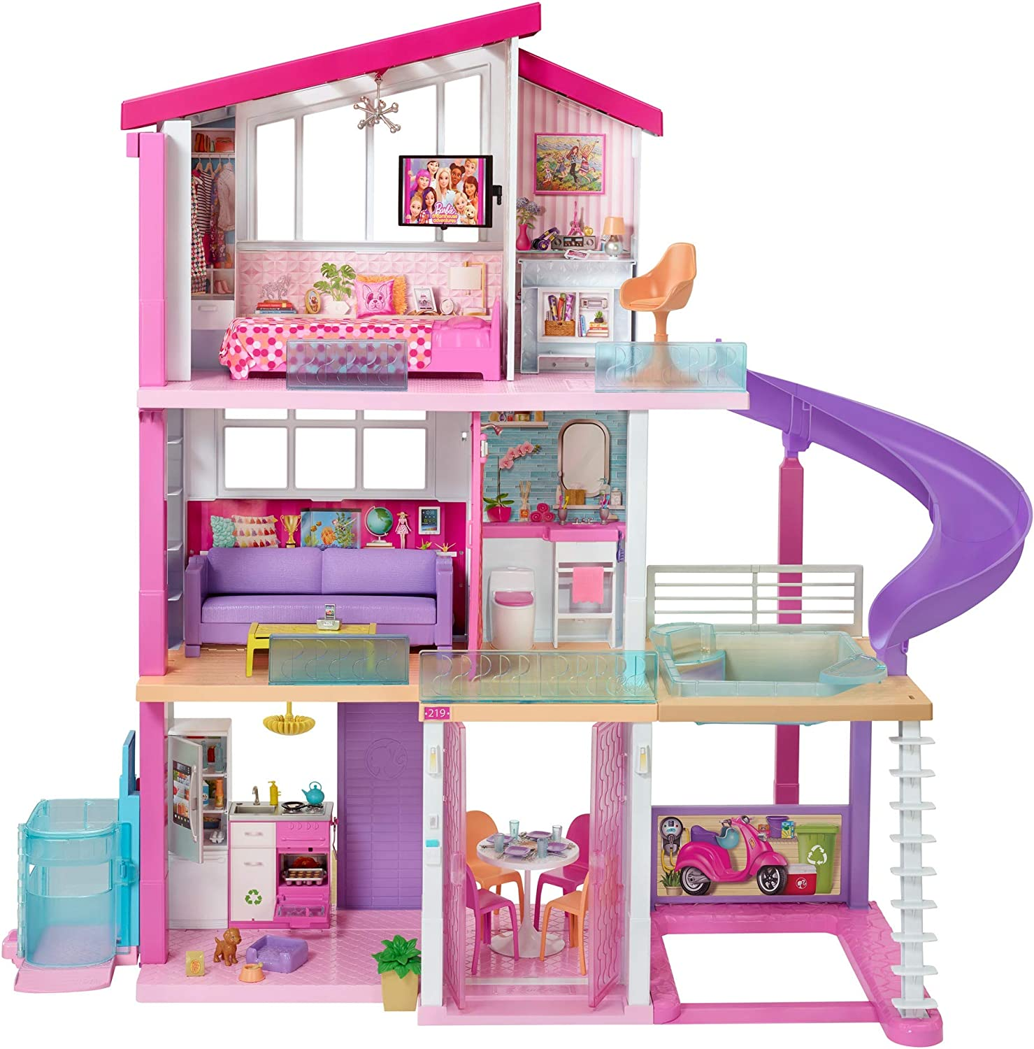 Barbie Dreamhouse Dollhouse With Wheelchair Accessible Elevator Pool Slide And 70 Accessories Including Furniture And Household Items Gift For 3 To 7 Year Olds Multicolor Toys Games