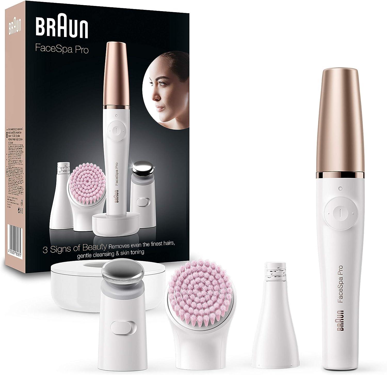 Braun FacEspa Pro SE912 Depiladora Facial TodoenUno para Mujer, Incluida una Depiladora Facial y Cepillo Limpiador Suave, Blanco/Bronce