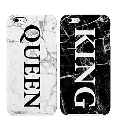 watch 4c117 1c5b2 King Queen White And Black Marble Hard Plastic Iphone Phone Case Cover For  Couples Best Friends In Relationship BFF Bae For Iphone 6 6s 7 7plus 8 X ...