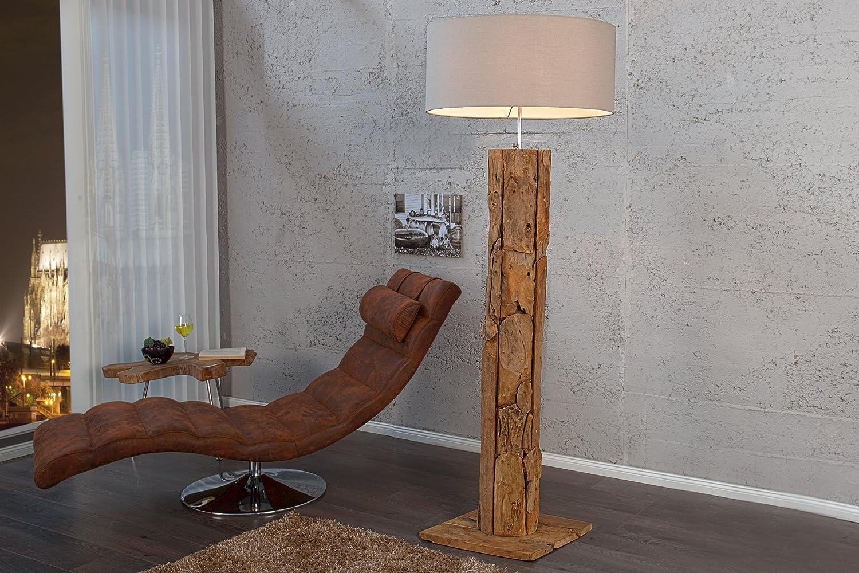 Stehlampe Holz Designerleuchte 160cm aus echtem Teakholz Leinen Schirm Moderne Wohnzimmer Lampe