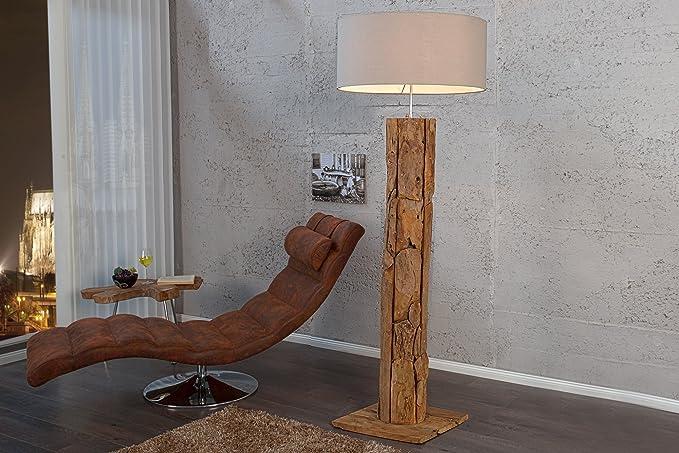 Stehlampe holz designerleuchte 160cm aus echtem teakholz leinen