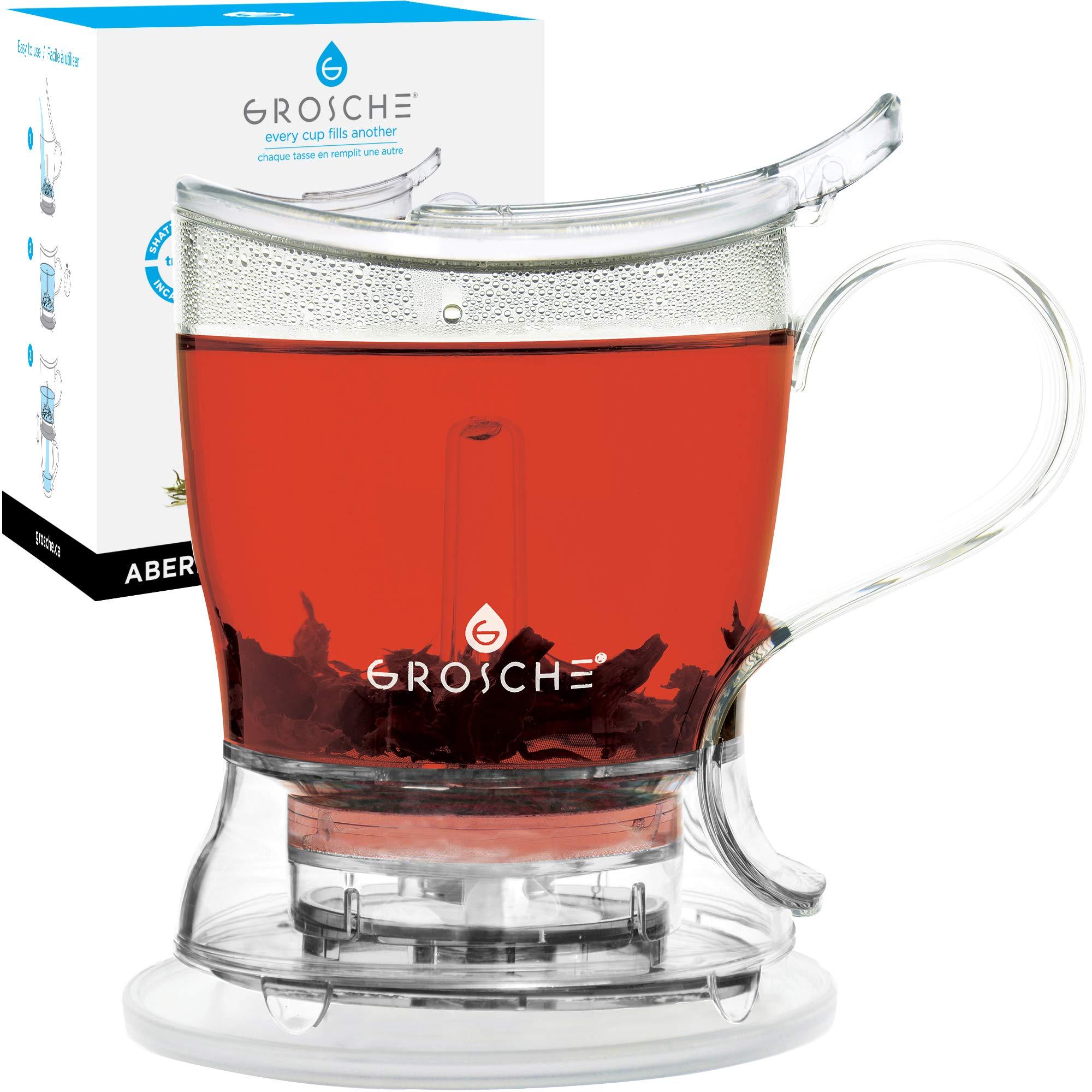 GROSCHE Aberdeen PERFECT TEA MAKER set with coaster, Tea Steeper, Teapot, Tea Infuser, 17.7 oz. 525 ml, EASY CLEAN Steeper, BPA-Free, NO DRIPS! by GROSCHE
