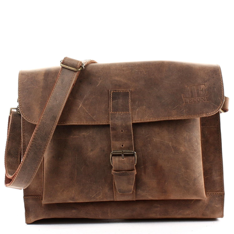 LECONI Messenger Bag DIN A4 Aktentasche Damen Herren Ledertasche Vintage Leder 38x29x11cm LE3054