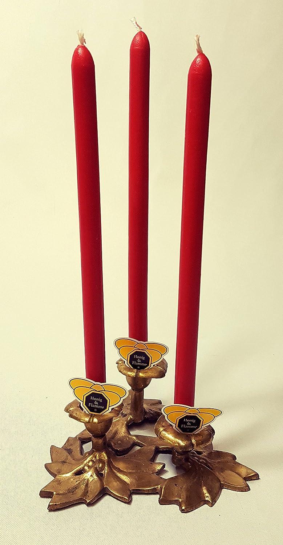 Miele & Fiamma candele Set 6candele, candele rosso tinto in cera d' api Candele di cera d' api Candles magia Spitz lavagna candele vino achtsbaum Chakra Honig & Flamme