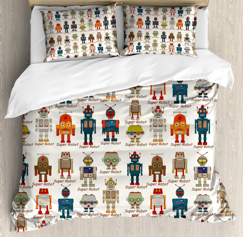 ABAKUHAUS Robot Funda Nórdica, Figuras Super Robot, 2 Fundas para Almohada Set Decorativo de 3 Piezas, 264 X 220 cm, Multicolor: Amazon.es: Hogar