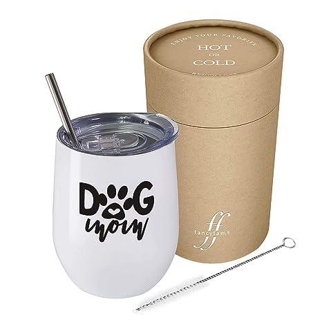 Amazon.com: Dog Mom – Vaso de vino sin tallo de acero ...