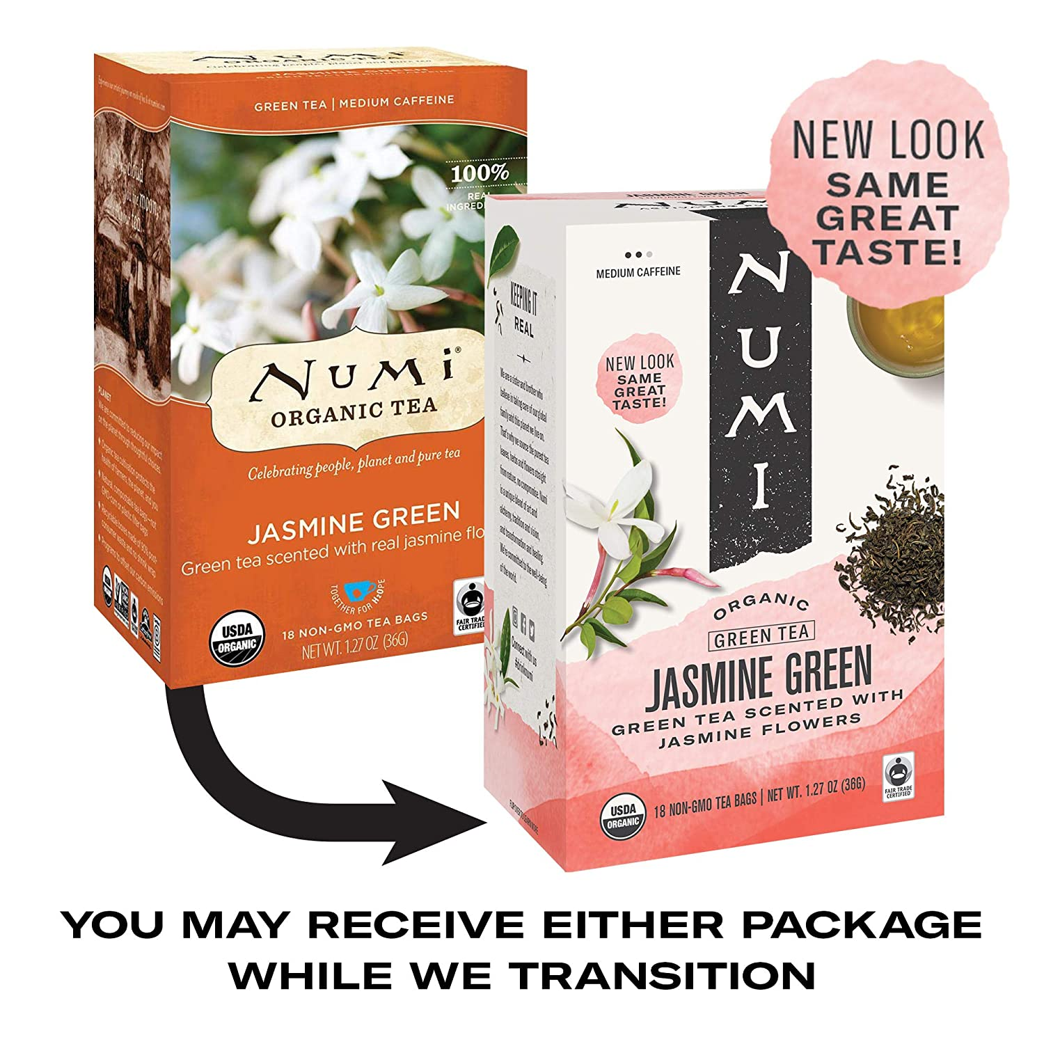 Numi Organic Tea Jasmine Green, 18 Count (Pack of 3) Box of Tea Bags